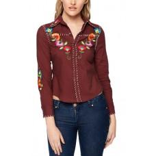 Риза памучна с цветя бродерия